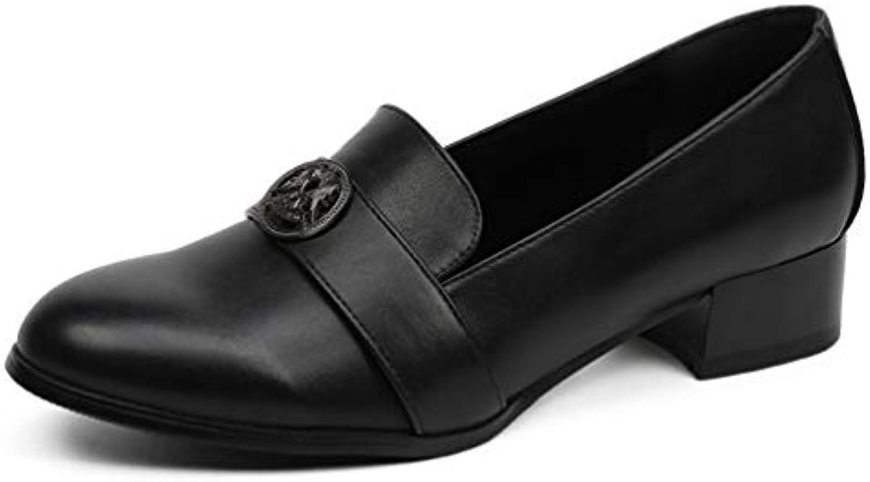 Femmes Talons Moyens Escarpins Classiques Chaussures carrés en Cuir Talons carrés Chaussures épais Talons Chaussures de BateauB07JYXM1FBParent d780e3