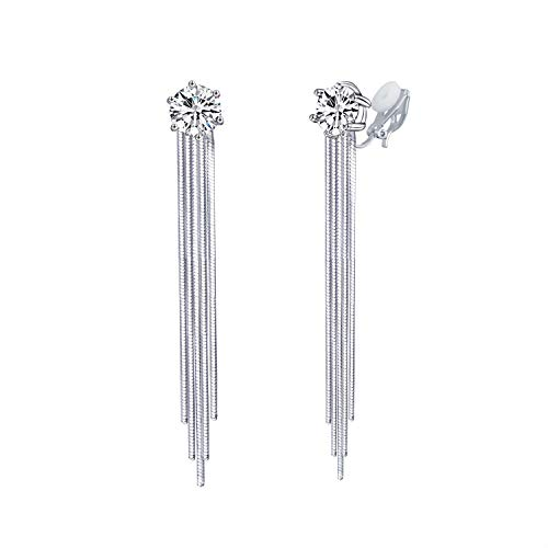 QUKE 7MM Zirkonia Kristall Quaste Baumeln Ohrclips Ohrhänger Lange Tropfen Nicht Durchbohrte Hochzeit Ohrringe Für Frauen Mädchen Braut