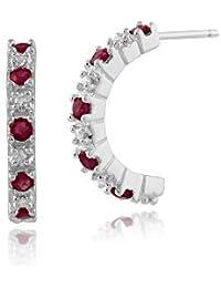 Pendientes de rubíes Gemondo, 9ct oro blanco 0.31ct rubí y diamante aro pendientes de estilo medio