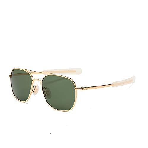 Liangliang Brillengestell, Polarisierte Sonnenbrille, Retro-Doppelflieger-Sonnenbrille Für Männer, Quadratische Sonnenbrille Mit Bajonett-Bügeln,Goldframegreenfilm
