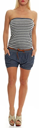 kurzer Marine Jumpsuit im Jeans-Look 9646 Damen One Size (dunkelgrau) - 4