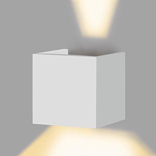 Lightess Applique Murale Interieur Exterieur LED 6W Eclairage Décoratif Lampe Design Moderne Lampe Murale en Aluminium pour Chambre Couloir Salon - Blanc Chaud (Ampoule Inclus)