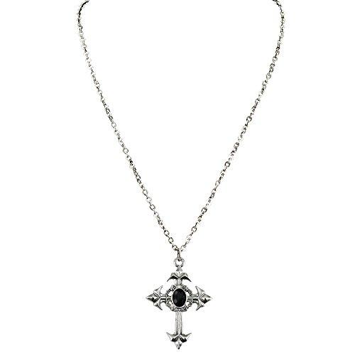 Gotische Kreuz Kette Juwel Kreuzkette Kruzifix Halskette mit Steinchen Gebets Anhängerkette Gothic Hals Schmuck Mittelalter Halloween Kostüm Accessoire