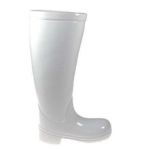 Dekorativer Stiefel aus weißer Keramik Gummistiefel Schirmständer Schirmhalter weiß Blickfang Schirmständer
