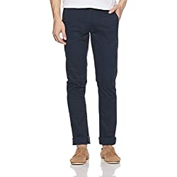 Arrow Sports Men's Relaxed Fit Casual Trousers (ASWTR2441_Blue_34W x 34L)