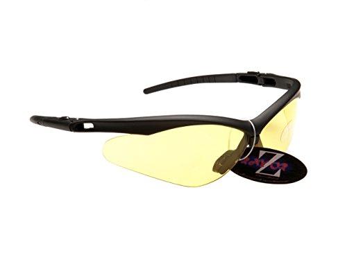 Rayzor Professionelle Leichte UV400 Schwarz Sports Wrap Laufen Sonnenbrille, mit einem klaren Gelb Hell Enhancing Blend Lens. -