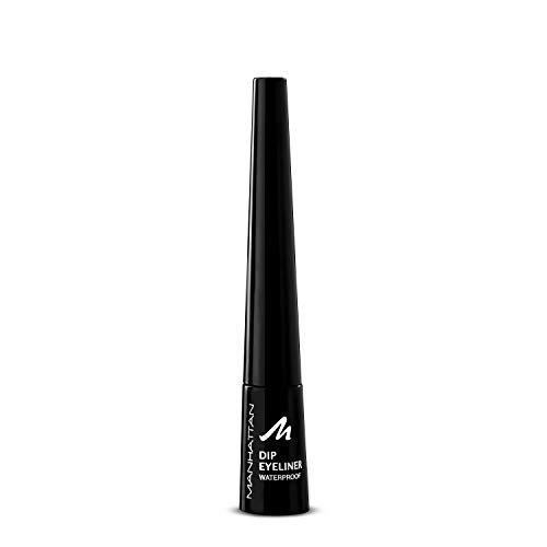 Manhattan Dip Eyeliner Waterproof, Schwarzer Eyeliner mit Spezialapplikator für den idealen Cat Eye Schwung, Farbe Black 1010N, 1 x 9,07g