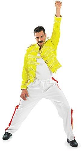 Herren 1980s 80s Freddie Mercury Queen Promi Kostüm Kleid Outfit M L & XL - Gelb, (Freddie Mercury Outfit)