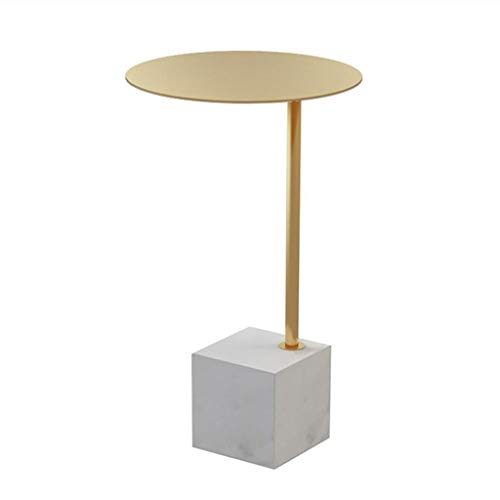 Dsrgwe Beistelltisch, Runder Sofa-Beistelltisch-Kaffee-Kleiner Marmor-Ende-Tabellen-Tee-Tabellen, die Tabellen für Innenministerium nisten (Color : Gold) -