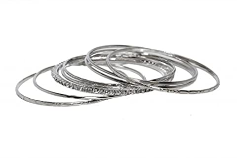Lux Accessories Rhinestone Textured Oval Design Rhinestone Multi Bangle Bracelet Set