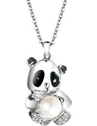 Morellato SKP01 - Panda - Collar de mujer de acero inoxidable con cristales y (1 perla), 45 cm