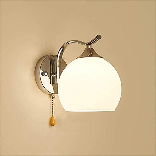 WangLei LED Wandleuchten Simplicity - Wandleuchte Schlafzimmer Nachttischlampe Modern Minimalist - 40 Watt Kugelglasleuchten for Wohnzimmer/Gang/Treppe/Wandleuchte, Zugschalter