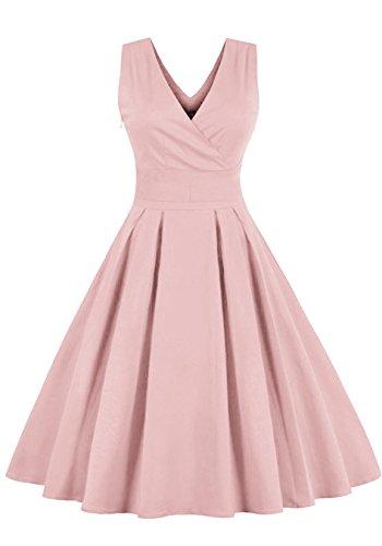 Babyonline 1950er Vintage Rosa Pinup Retro Rockabilly Kleid Cocktailkleider Rosa XL
