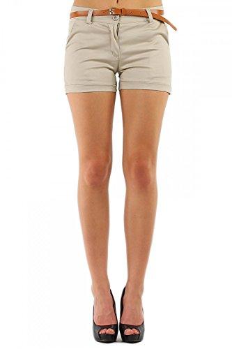 Damen Hotpant Chino Shorts Kurze Hose mit Gürtel (278), Grösse:L / 40, Farbe:Beige -