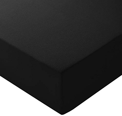 AmazonBasics Spannbetttuch, Mikrofaser, Schwarz, 180x200x30cm