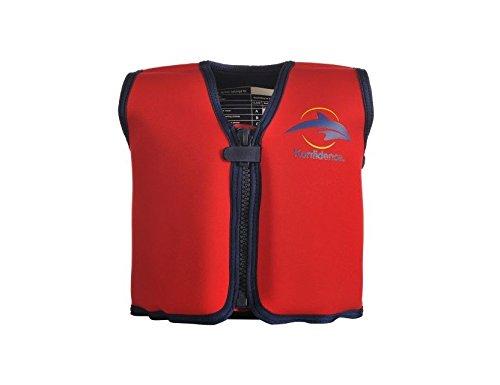 The Original Konfidence Jacket I Neopren-Jacke für Kinder I Schwimmjacke ideal für Kinder I mehr Bewegungsfreiheit wie bei Schwimmflügel, Design:red, Größe:18Mon-3Jahre