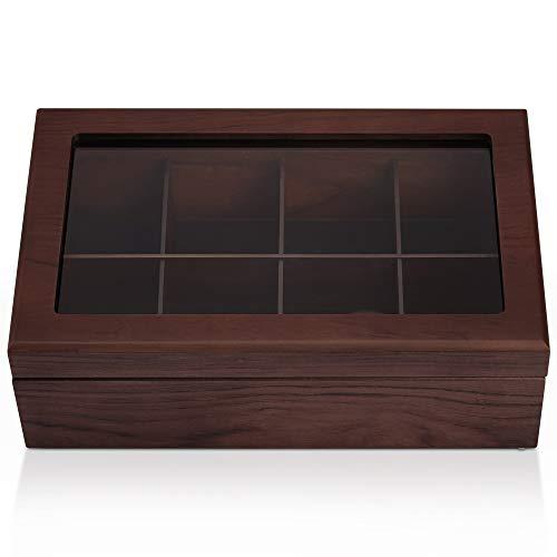 Apace Living Tee Box Luxeriöse Tee Aufbewahrung Box Holz - 8 Fächer für die Aufbewahrung von Teebeuteln - Handgefertigte Teebox mit kratzfestem Sichtfenster - Elegante Teebeutel Aufbewahrungsbox