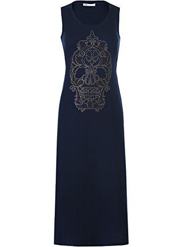 oodji Ultra Femme Robe Longue avec Tête de Mort en Strass Bleu (7991P)