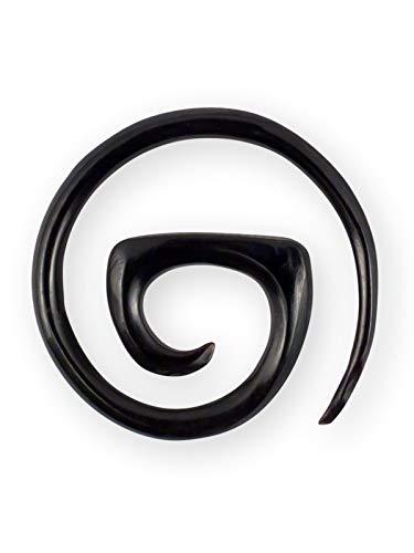 Fly Style Damen Dehn-Spirale Ohrringe Horn & Knochen 2-10mm Creolen, Grösse:4 mm, Farbwahl:schwarz