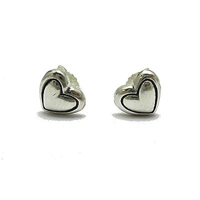 Petites boucles d'oreilles en argent massif 925 Cœurs E000708 Empress