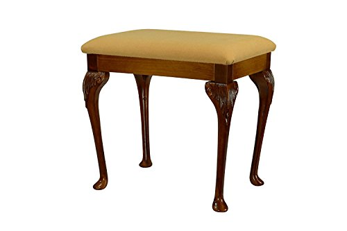 "High Street Design Antique Oak Large Dressing Table/Foot Stool with 17"" Queen Anne style legs and Pale Gold Fabric Cushion"