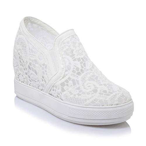 mogeek Damen Plateau Sneaker mit Keilabsatz Atmungsaktiv Sommer Freizeitschuhe(Weiß,38 Weiße Wedge Sneakers