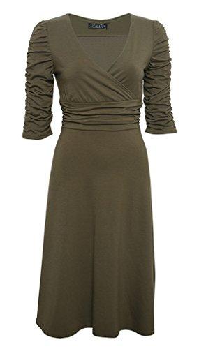 Smile YKK 3/4 Aermel V Ausschnitt Damen Sommer Casual Kleid Vintage Kleid  Bodyconkleid Knielang