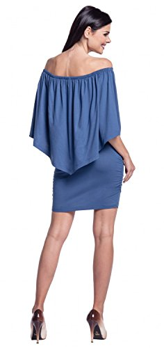 Zeta Ville - Robe fourreau encolure bardot double couches dessin - femme - 293z Bleu Jeans