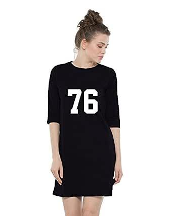 Melcom Women's Cotton 76 Printed 3/4 Sleeves T-Shirt Dress (MWTD-17, Black)