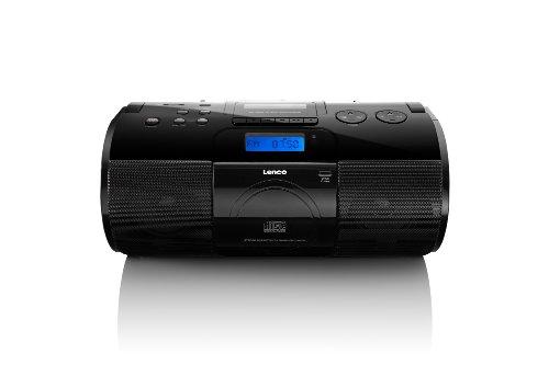 Lenco SCD-1000 Boombox mit Radio und CD/MP3-Player (Kassettenabspieler, SD-Kartenleser, USB) schwarz