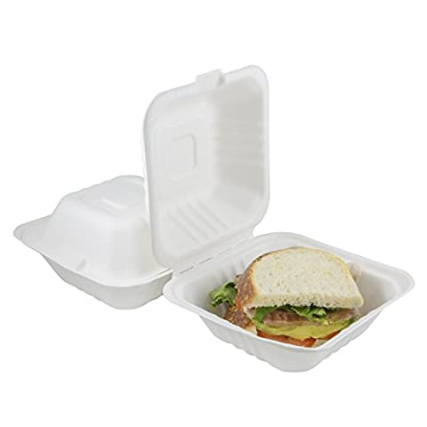 Houseables Take Out Food Containers, Takeout Clamshell Container, 100 Pack, White, 6x6 Inch, 100% Disposable, Food Boxes To Go, Biodegradable Box, Restaurant Supplies, Microwavable, Eco