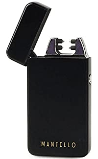 Mantello Coil Lighters USB Rechargeable Windproof Dual Arc Lighter Matte Black
