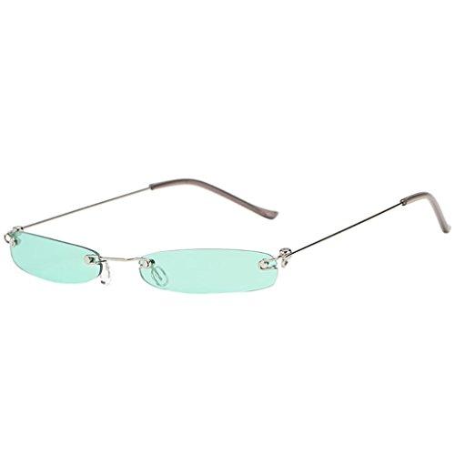 Huhu833 Mode Unisex Vintage Sonnenbrille Transparent Small Frame Sonnenbrillen Retro Brillen (Grün)
