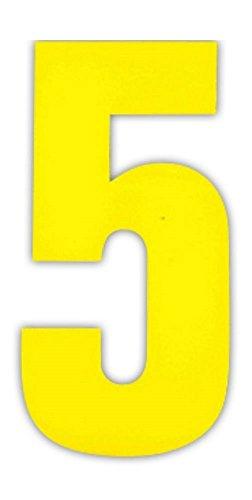 Wheelie Bin Numbers Zahlen gelb Aufkleber für Hausnummern, Mülltonnen/Hauswände/Garagentore oder Mülleimer 3x 5