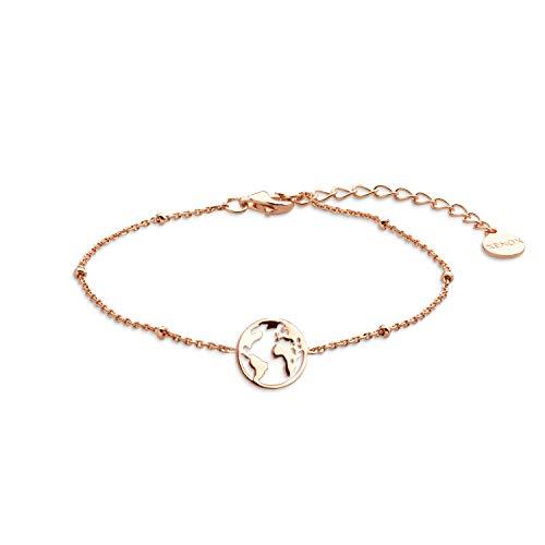 Xenox Damen-Armband mit Weltkugel 925 Sterlingsilber/rosévergoldet 18,5 cm (rosé)