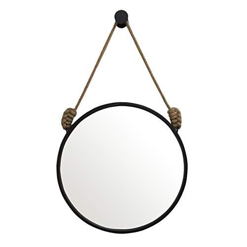 Miroir Mural Rond En Métal Avec Miroir De Courtoisie En Corde De Chanvre Suspendu, Grand Miroir Mural HD (diamètre De 30 À 80 Cm) (taille : 60 cm)