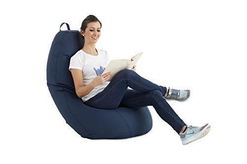 textil-home Puf - Puff pera XL moldeable - 75x75x120 cm- Color Azul. Tejido PVC Alta Resistencia - Doble repunte - (Incluye Relleno Bolas Poliestireno).