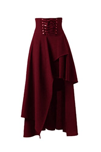 Le Donne Gotico Lolita Band Vita Gonna Steampunk Vintage Gonna Burgundy