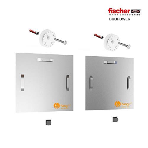 hang-it Premium Spiegel Aufhänger Set XXL - inkl. 2X 180x180mm Spiegelaufhänger - Spiegelhalter und Exzenterscheiben