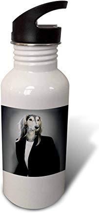 GFGKKGJFD612 Sandy Mertens Dog Designs – Funny Female Afghan Hound Dog in a Suit, drsmm White Aluminum Sports Water Bottle Novelty Gifts