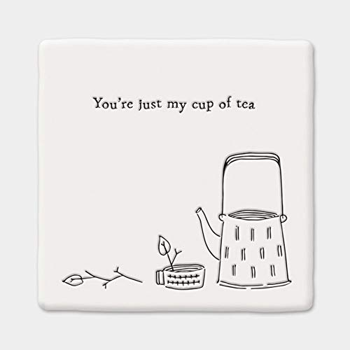 East of India Porcelain Square Coaster 'You're just my cup of tea' Gift