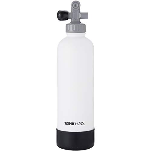 TankH2O Scuba Tanque de vacío Botella con Material Aislante de Agua: el Gran Regalo y Accesorios para los buceadores   Sostiene 700 ml   Cap BPA, Silicona Arranque (Blanco)
