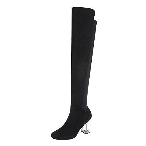 Overknees Damen-Schuhe Overknees Pump High Heels Reißverschluss Ital-Design Stiefel Schwarz, Gr 40, 2148-