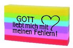 Radiergummi, regenbogen, 'Gott liebt mich...'