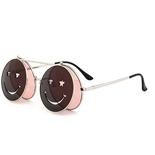BFQCBFSG Herren Sonnenbrille Retro Persönlichkeit Punk Stil Peng Gedämpft Flip Face Sonnenbrille Europa Und Der Trend Street Beat Lustig Marine Film Sonnenbrille, Pink