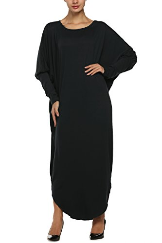 cravog-womens-casual-cotton-batwing-sleeve-long-loose-fitting-dress-maxi-dress-luk-16-18-black