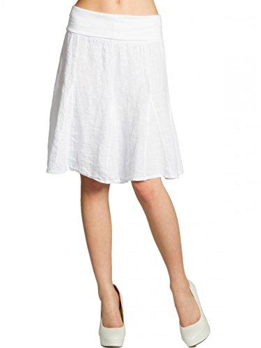 CASPAR RO014 Damen Leinenrock mit figurfreundlichem Stretch Bund, Farbe:weiss;Größe:One Size (Leinen Langer Rock)