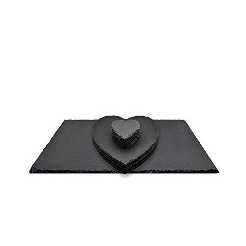 Accessoires de table en ardoise - naturel/en forme de cœur - 6 sous-verres/6 sets de table/chemin de table/plateau