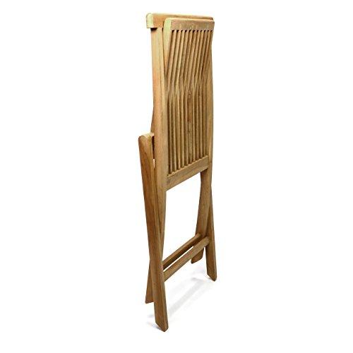 DIVERO 2er-Set Klappstuhl Teakstuhl Gartenstuhl Teak Holz Stuhl für Terrasse Balkon Wintergarten witterungsbeständig behandelt massiv klappbar natur - 5