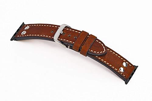 SCHATZKIND® Echt Vintageleder mit Nieten, Armband kompatibel für Apple Watch Series 1, 2, 3 & 4. Lederarmband Echtleder. Made in Germany (38/40 mm, Konnektor Silber, Mahagoni) -